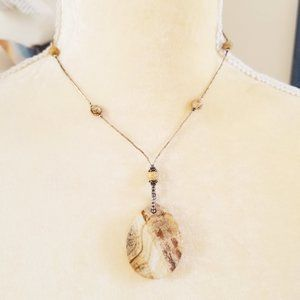 Jewelry - Vintage Petrified Wood Liquid Silver 925 Necklace
